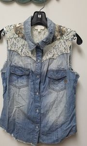 Miss me Embellished Denim sleeveless shirt